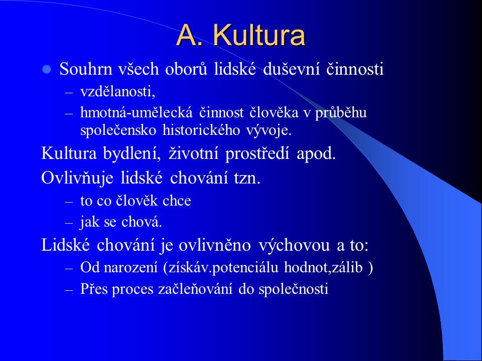 A. Kultura Souhrn všech oborů lidské duševní činnosti – vzdělanosti, – hmotná-umělecká činnost člověka v průběhu společensko historického vývoje. Kult