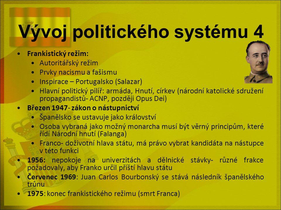 Vývoj politického systému 4 Frankistický režim: Autoritářský režim Prvky nacismu a fašismu Inspirace – Portugalsko (Salazar) Hlavní politický pilíř: a