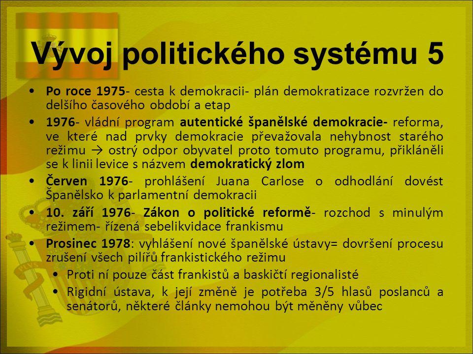 Vývoj politického systému 5 Po roce 1975- cesta k demokracii- plán demokratizace rozvržen do delšího časového období a etap 1976- vládní program auten