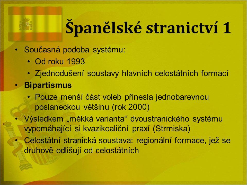 Španělské stranictví 1 Současná podoba systému: Od roku 1993 Zjednodušení soustavy hlavních celostátních formací Bipartismus Pouze menší část voleb př