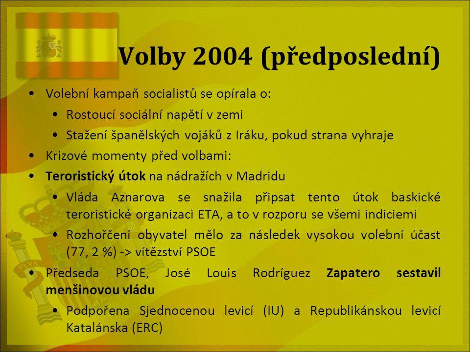 Volby 2004 (předposlední) Volební kampaň socialistů se opírala o: Rostoucí sociální napětí v zemi Stažení španělských vojáků z Iráku, pokud strana vyh