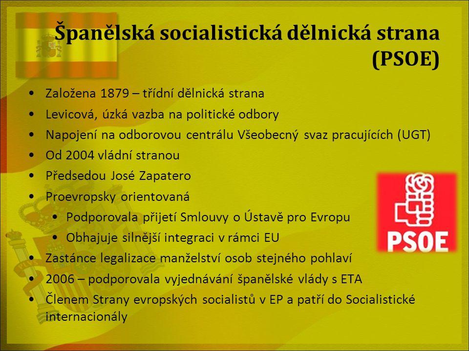 Španělská socialistická dělnická strana (PSOE) Založena 1879 – třídní dělnická strana Levicová, úzká vazba na politické odbory Napojení na odborovou c