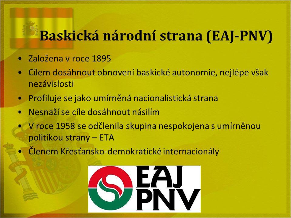 Baskická národní strana (EAJ-PNV) Založena v roce 1895 Cílem dosáhnout obnovení baskické autonomie, nejlépe však nezávislosti Profiluje se jako umírně