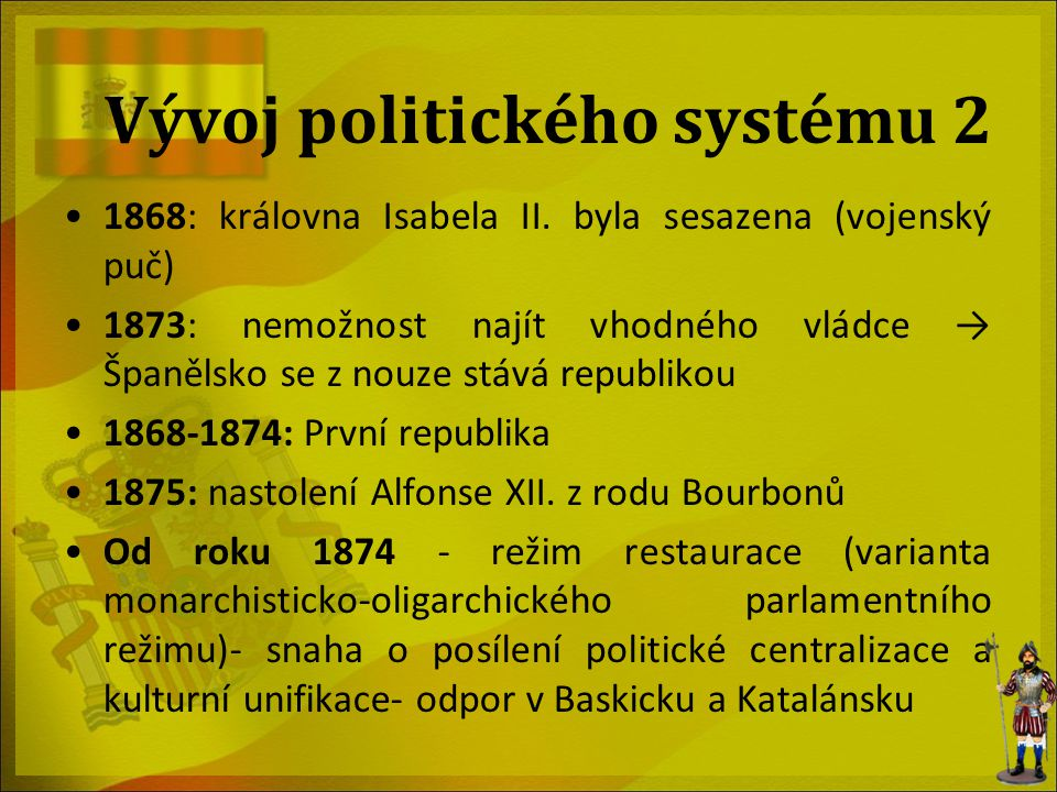 Volby 2004 (předposlední) Volební kampaň socialistů se opírala o: Rostoucí sociální napětí v zemi Stažení španělských vojáků z Iráku, pokud strana vyhraje Krizové momenty před volbami: Teroristický útok na nádražích v Madridu Vláda Aznarova se snažila připsat tento útok baskické teroristické organizaci ETA, a to v rozporu se všemi indiciemi Rozhořčení obyvatel mělo za následek vysokou volební účast (77, 2 %) -> vítězství PSOE Předseda PSOE, José Louis Rodríguez Zapatero sestavil menšinovou vládu Podpořena Sjednocenou levicí (IU) a Republikánskou levicí Katalánska (ERC)