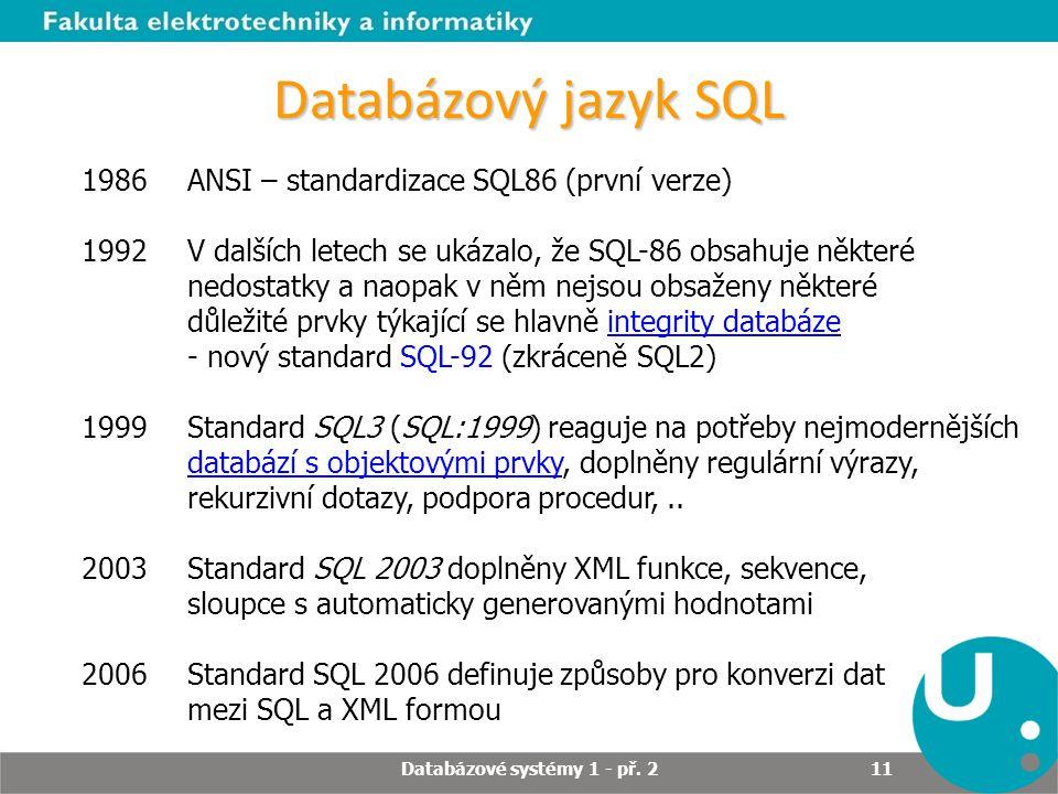 Databázový jazyk SQL 1986ANSI – standardizace SQL86 (první verze) 1992 V dalších letech se ukázalo, že SQL-86 obsahuje některé nedostatky a naopak v n