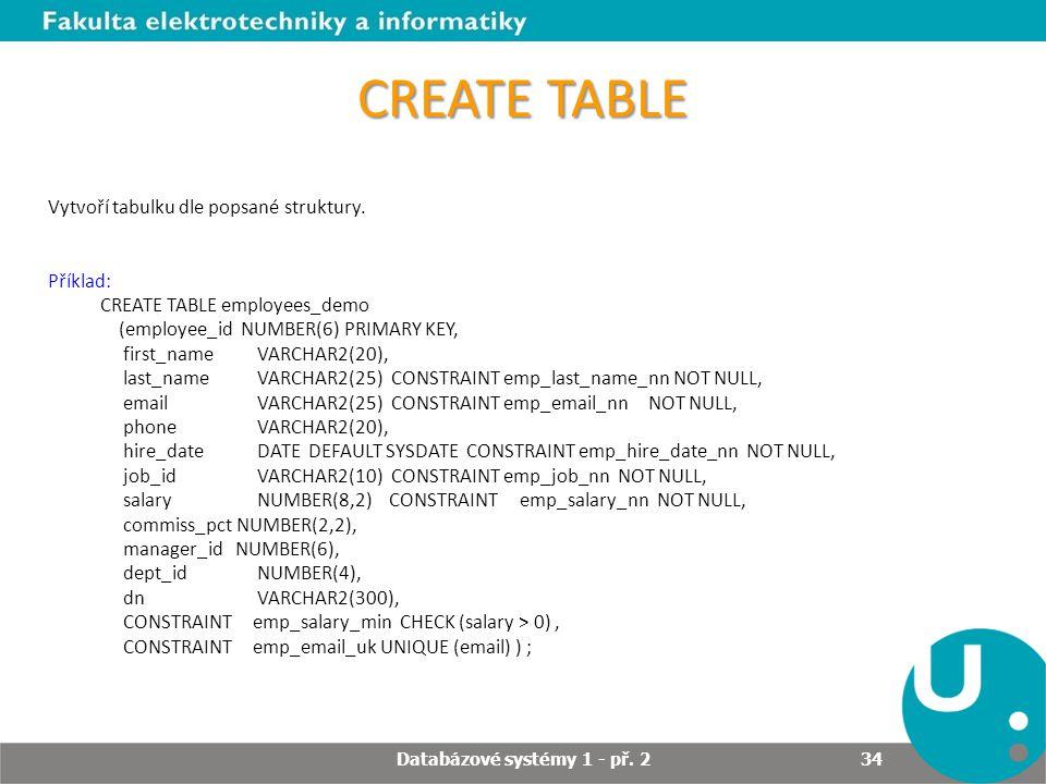 CREATE TABLE Vytvoří tabulku dle popsané struktury. Příklad: CREATE TABLE employees_demo (employee_id NUMBER(6) PRIMARY KEY, first_name VARCHAR2(20),