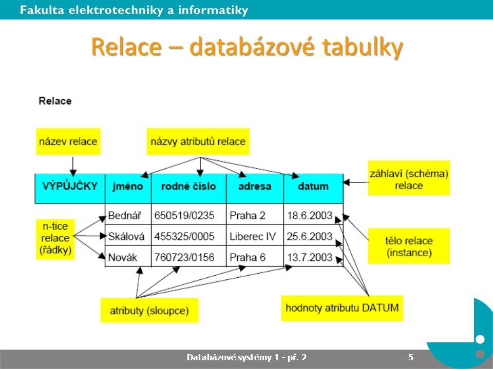 Relace – databázové tabulky Databázové systémy 1 - př. 2 5