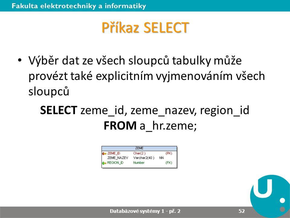 Příkaz SELECT Výběr dat ze všech sloupců tabulky může provézt také explicitním vyjmenováním všech sloupců SELECT zeme_id, zeme_nazev, region_id FROM a
