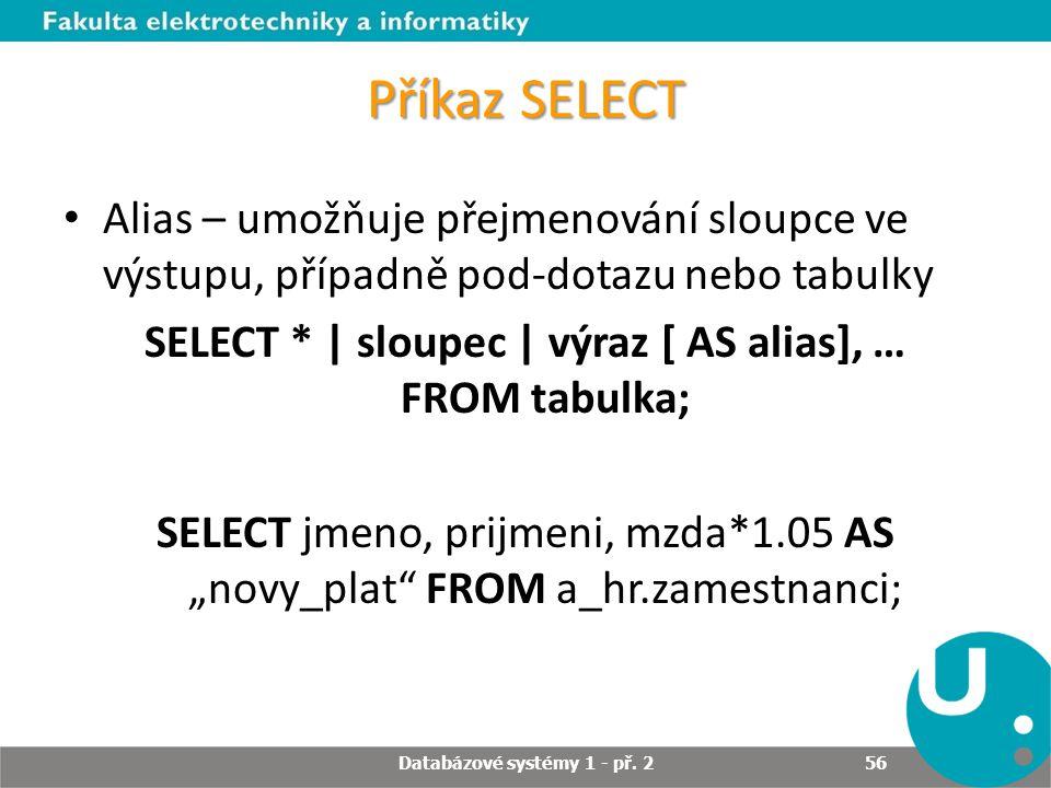 Příkaz SELECT Alias – umožňuje přejmenování sloupce ve výstupu, případně pod-dotazu nebo tabulky SELECT * | sloupec | výraz [ AS alias], … FROM tabulk