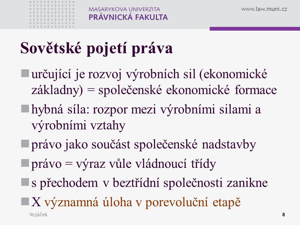 www.law.muni.cz Vojáček8 Sovětské pojetí práva určující je rozvoj výrobních sil (ekonomické základny) = společenské ekonomické formace hybná síla: roz