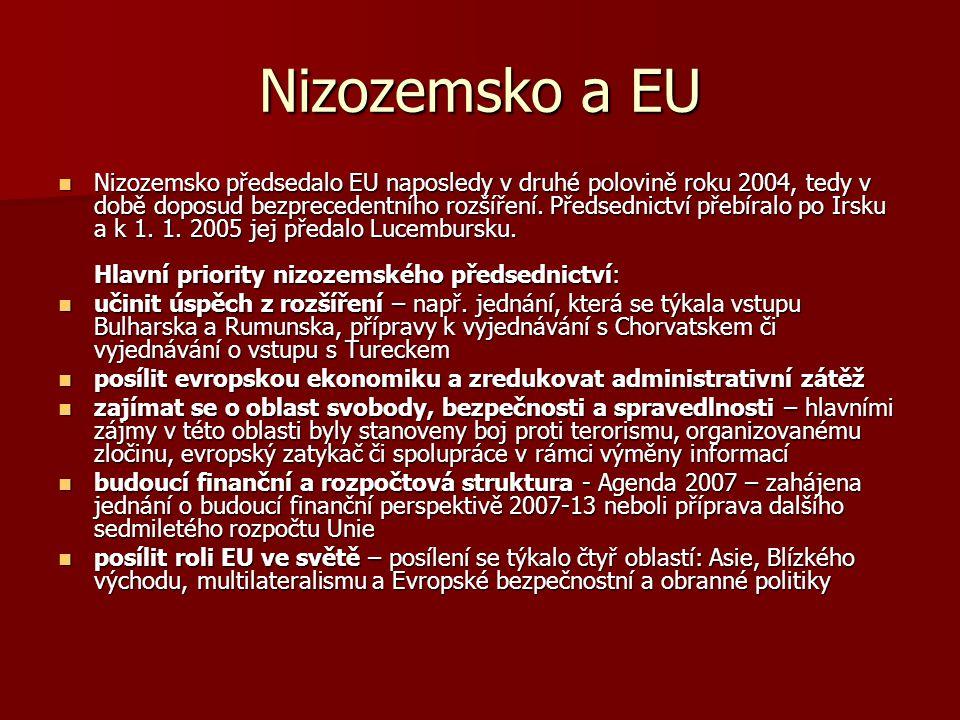 Nizozemsko a EU Nizozemsko předsedalo EU naposledy v druhé polovině roku 2004, tedy v době doposud bezprecedentního rozšíření. Předsednictví přebíralo