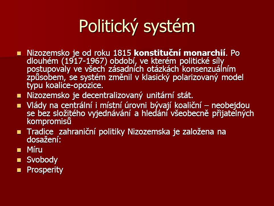 Politický systém Nizozemsko je od roku 1815 konstituční monarchií. Po dlouhém (1917-1967) období, ve kterém politické síly postupovaly ve všech zásadn