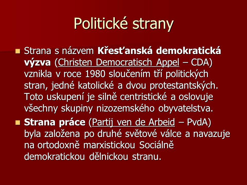 Politické strany Cílem strany Demokraté 66 (D66) bylo prosazení ústavní reformy a zrušení proporčního volebního systému.