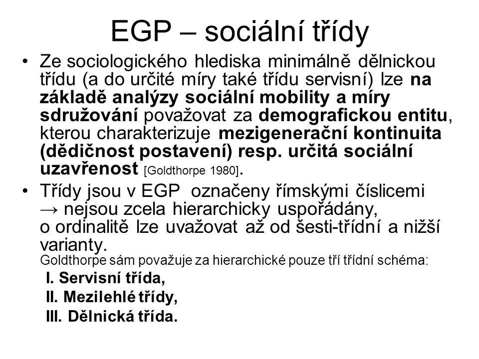 EGP – sociální třídy Ze sociologického hlediska minimálně dělnickou třídu (a do určité míry také třídu servisní) lze na základě analýzy sociální mobility a míry sdružování považovat za demografickou entitu, kterou charakterizuje mezigenerační kontinuita (dědičnost postavení) resp.