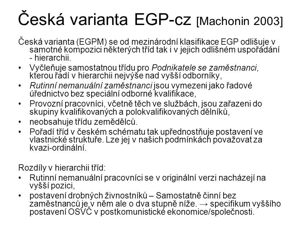 Česká varianta EGP-cz [Machonin 2003] Česká varianta (EGPM) se od mezinárodní klasifikace EGP odlišuje v samotné kompozici některých tříd tak i v jejich odlišném uspořádání - hierarchii.