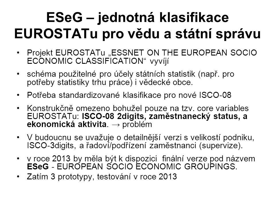 """ESeG – jednotná klasifikace EUROSTATu pro vědu a státní správu Projekt EUROSTATu """"ESSNET ON THE EUROPEAN SOCIO ECONOMIC CLASSIFICATION vyvíjí schéma použitelné pro účely státních statistik (např."""