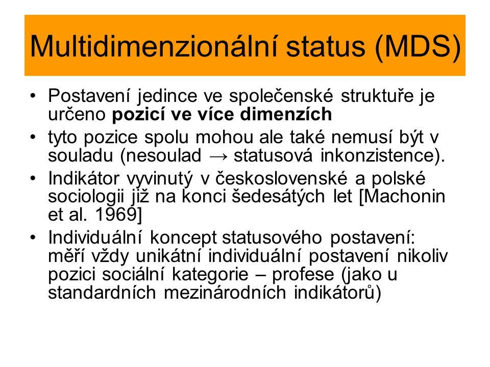Multidimenzionální status (MDS) Postavení jedince ve společenské struktuře je určeno pozicí ve více dimenzích tyto pozice spolu mohou ale také nemusí být v souladu (nesoulad → statusová inkonzistence).