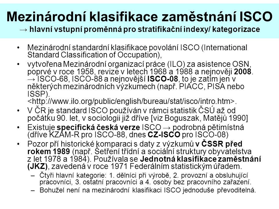 Mezinárodní klasifikace zaměstnání ISCO → hlavní vstupní proměnná pro stratifikační indexy/ kategorizace Mezinárodní standardní klasifikace povolání ISCO (International Standard Classification of Occupation), vytvořena Mezinárodní organizací práce (ILO) za asistence OSN, poprvé v roce 1958, revize v letech 1968 a 1988 a nejnověji 2008.