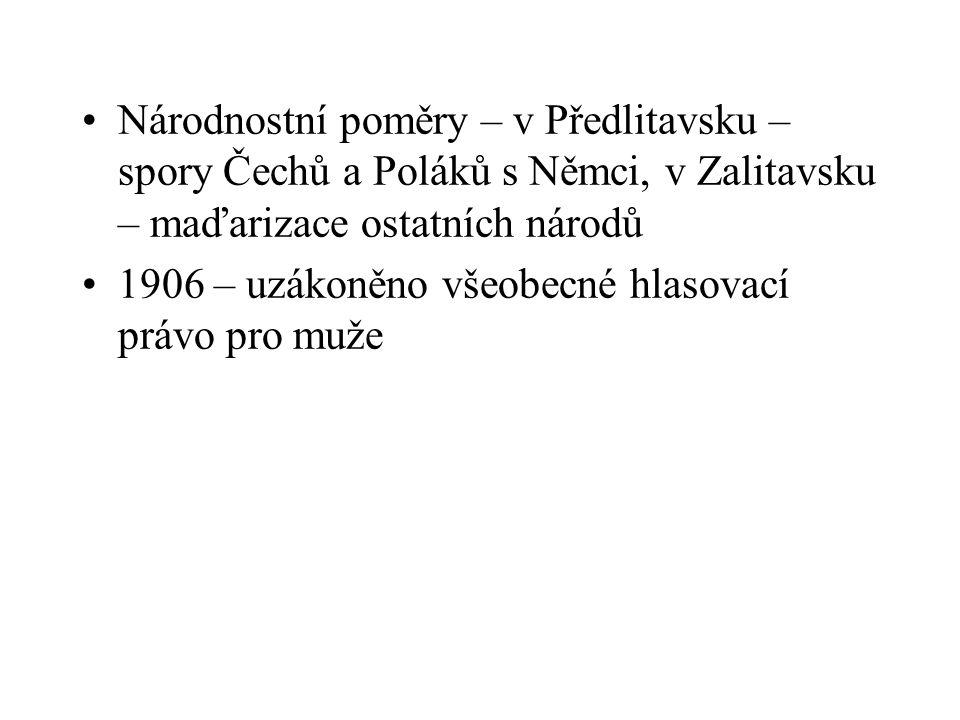 Národnostní poměry – v Předlitavsku – spory Čechů a Poláků s Němci, v Zalitavsku – maďarizace ostatních národů 1906 – uzákoněno všeobecné hlasovací pr