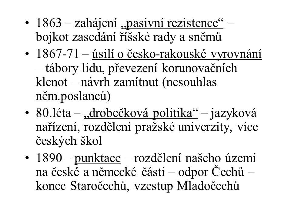 """1863 – zahájení """"pasivní rezistence"""" – bojkot zasedání říšské rady a sněmů 1867-71 – úsilí o česko-rakouské vyrovnání – tábory lidu, převezení korunov"""