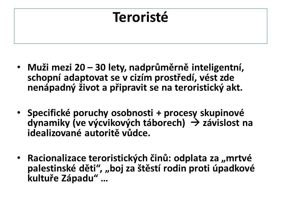 Teroristé Muži mezi 20 – 30 lety, nadprůměrně inteligentní, schopní adaptovat se v cizím prostředí, vést zde nenápadný život a připravit se na teroris