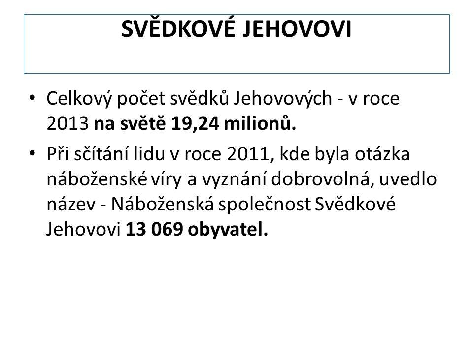 SVĚDKOVÉ JEHOVOVI Celkový počet svědků Jehovových - v roce 2013 na světě 19,24 milionů. Při sčítání lidu v roce 2011, kde byla otázka náboženské víry