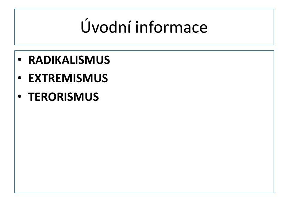 Úvodní informace RADIKALISMUS EXTREMISMUS TERORISMUS