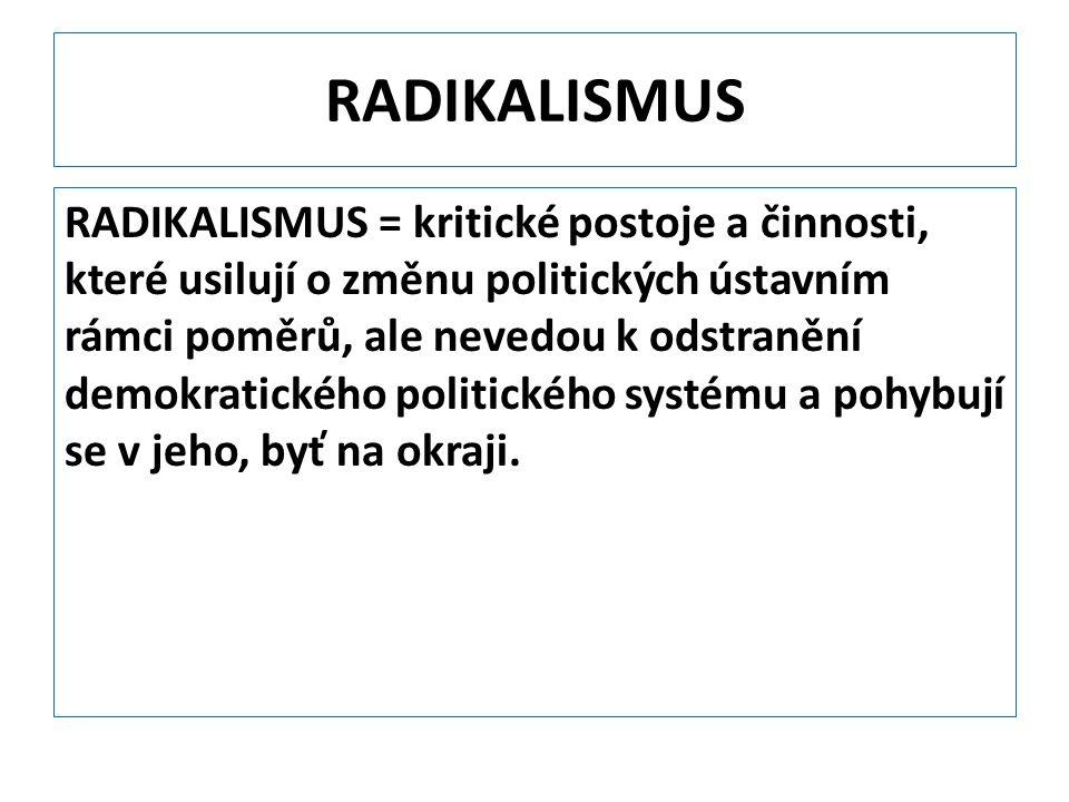 RADIKALISMUS RADIKALISMUS = kritické postoje a činnosti, které usilují o změnu politických ústavním rámci poměrů, ale nevedou k odstranění demokratick