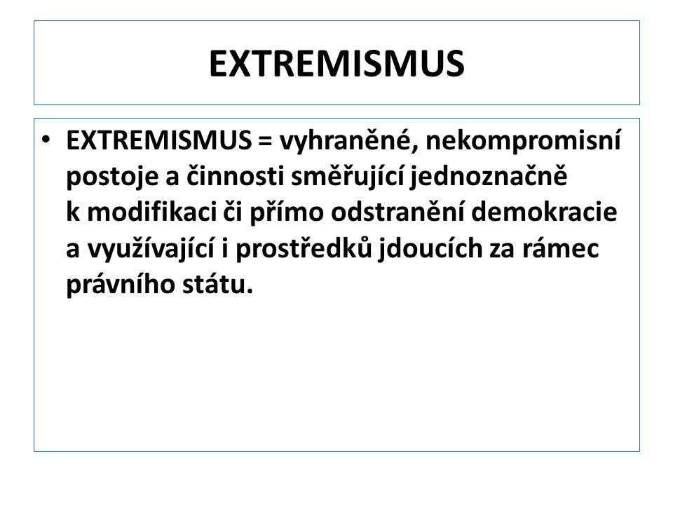 EXTREMISMUS EXTREMISMUS = vyhraněné, nekompromisní postoje a činnosti směřující jednoznačně k modifikaci či přímo odstranění demokracie a využívající