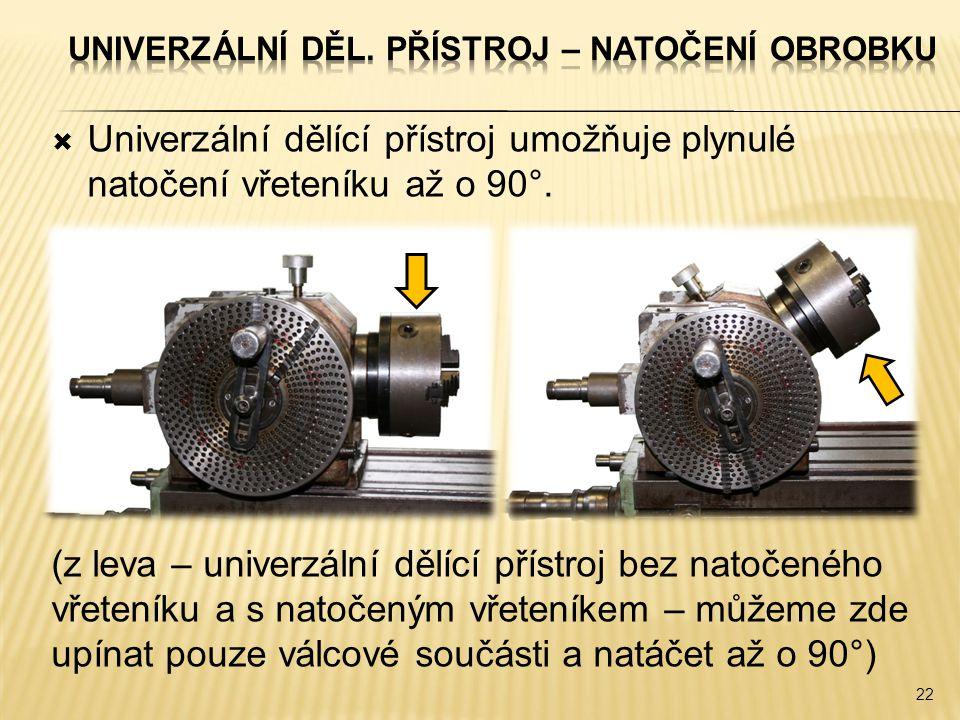  Univerzální dělící přístroj umožňuje plynulé natočení vřeteníku až o 90°. (z leva – univerzální dělící přístroj bez natočeného vřeteníku a s natočen