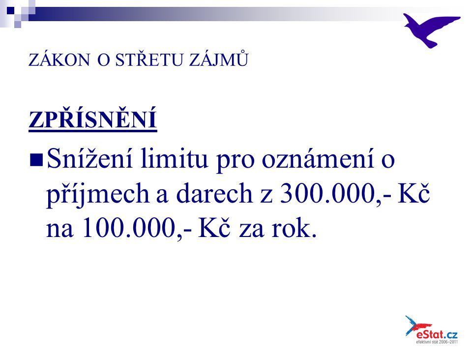 ZÁKON O STŘETU ZÁJMŮ ZPŘÍSNĚNÍ Snížení limitu pro oznámení o příjmech a darech z 300.000,- Kč na 100.000,- Kč za rok.