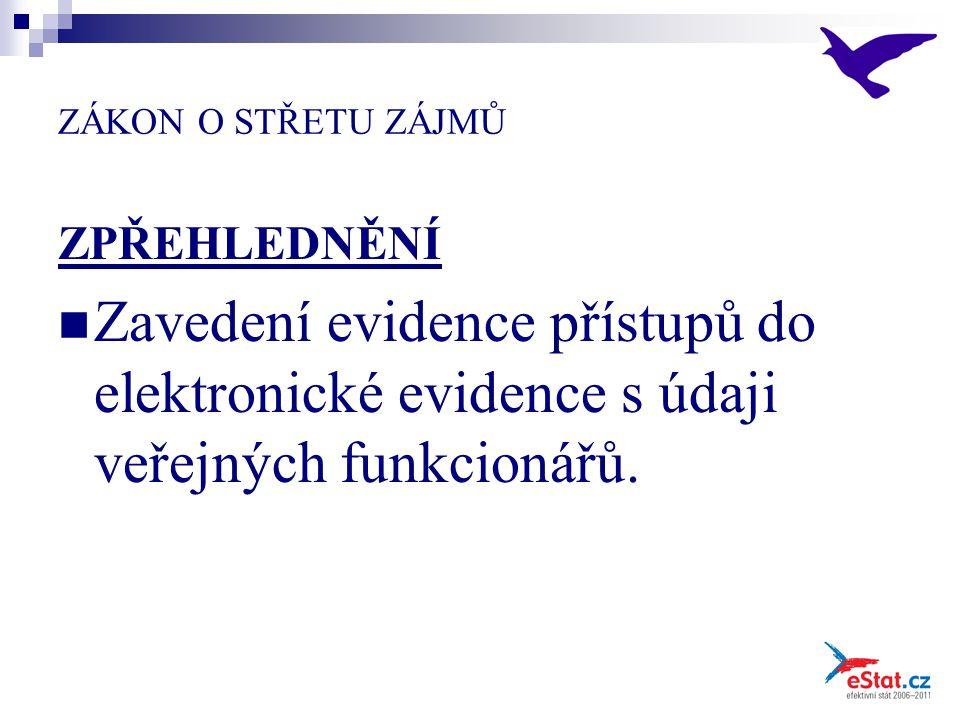 ZÁKON O STŘETU ZÁJMŮ ZPŘEHLEDNĚNÍ Zavedení evidence přístupů do elektronické evidence s údaji veřejných funkcionářů.