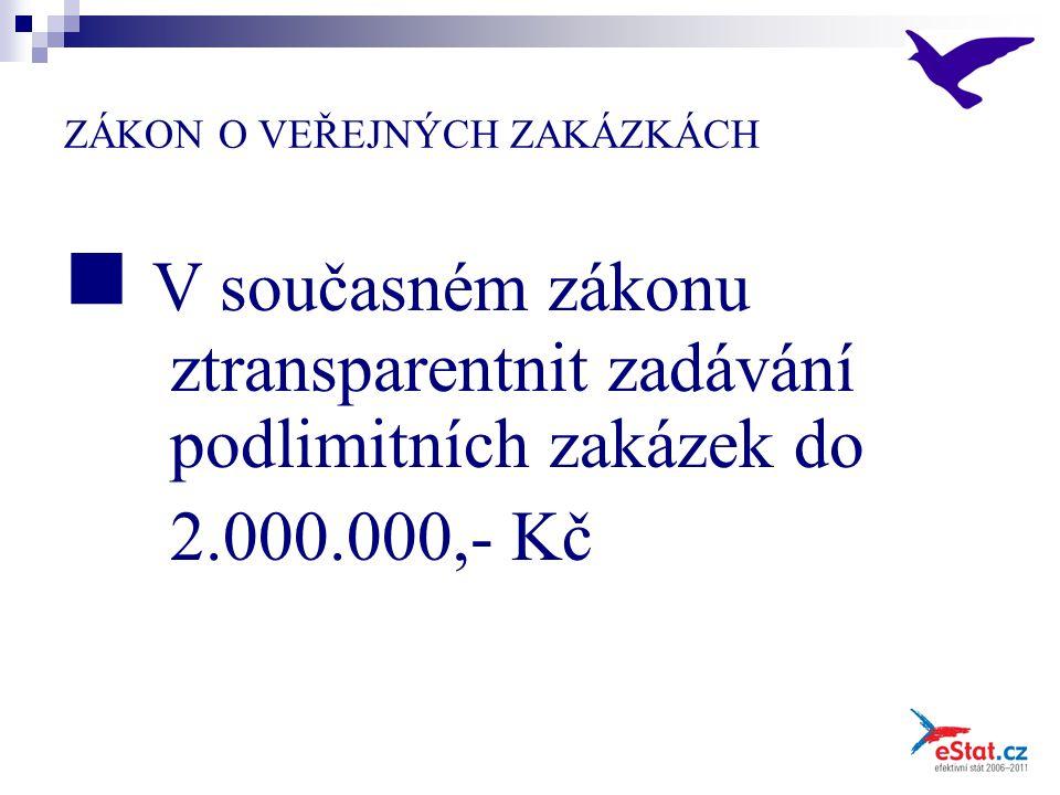 ZÁKON O VEŘEJNÝCH ZAKÁZKÁCH V současném zákonu ztransparentnit zadávání podlimitních zakázek do 2.000.000,- Kč
