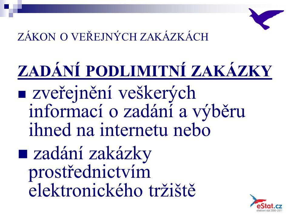 ZÁKON O VEŘEJNÝCH ZAKÁZKÁCH ZADÁNÍ PODLIMITNÍ ZAKÁZKY zveřejnění veškerých informací o zadání a výběru ihned na internetu nebo zadání zakázky prostřednictvím elektronického tržiště