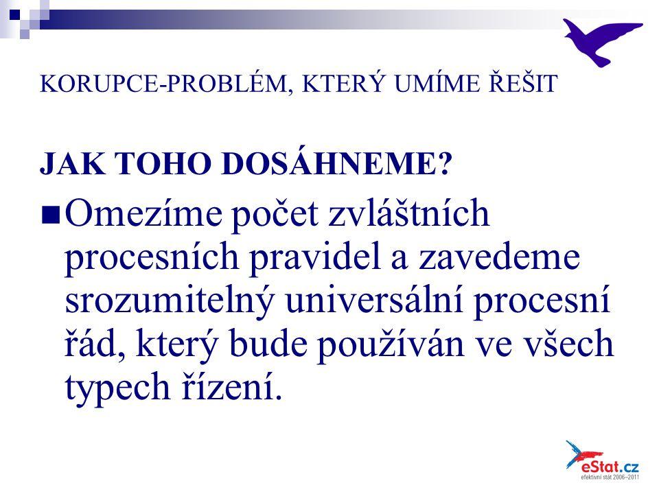 KORUPCE-PROBLÉM, KTERÝ UMÍME ŘEŠIT JAK TOHO DOSÁHNEME? Omezíme počet zvláštních procesních pravidel a zavedeme srozumitelný universální procesní řád,