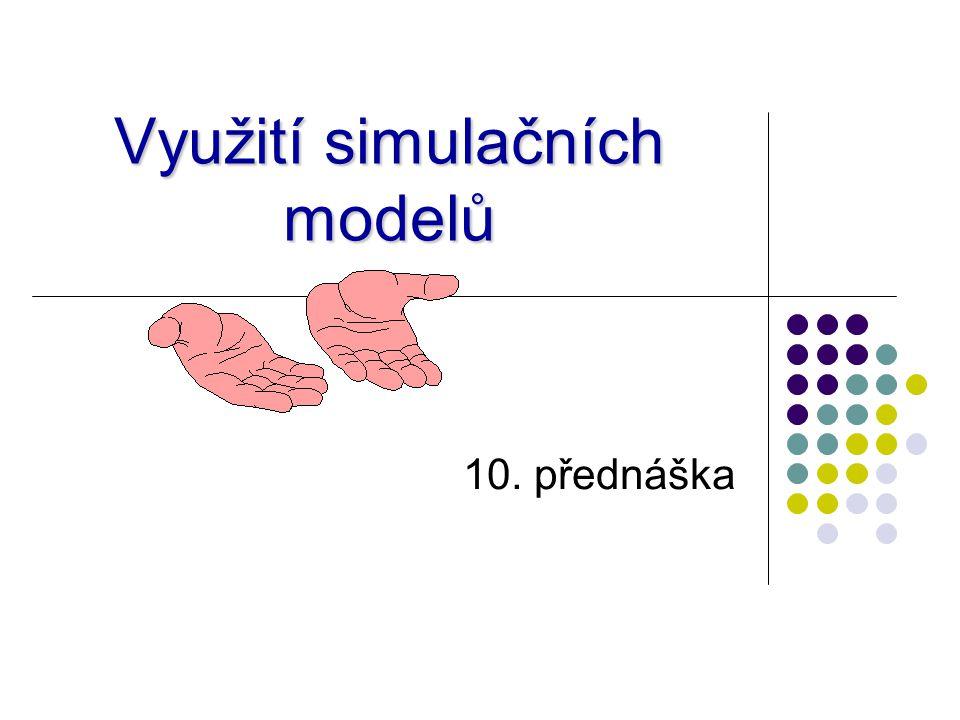 Simulace v praxi Firmy samostatně nebo přes poradenské firmy Poradenské firmy Logio (http://www.logio.cz) – Witness, SIMUL8, Simiohttp://www.logio.cz Humusoft (http://www.humusoft.cz/onas/) – Matlab, Simulink, Comsolhttp://www.humusoft.cz/onas/ Dynamic Future (http://www.dynamicfuture.cz/) - Witnesshttp://www.dynamicfuture.cz/ AF-City Plan (http://www.af- cityplan.cz/mikrosimulace.html) – PTV VISSIMhttp://www.af- cityplan.cz/mikrosimulace.html