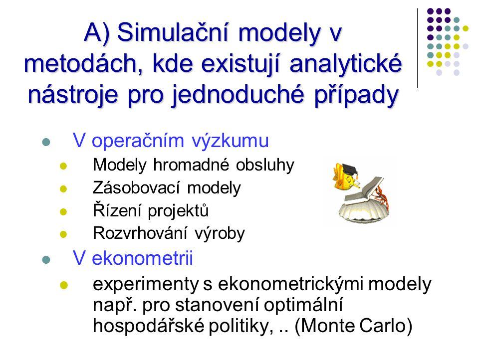 A) Simulační modely v metodách, kde existují analytické nástroje pro jednoduché případy V operačním výzkumu Modely hromadné obsluhy Zásobovací modely Řízení projektů Rozvrhování výroby V ekonometrii experimenty s ekonometrickými modely např.