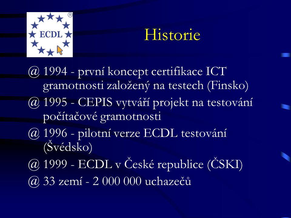 Historie @1994 - první koncept certifikace ICT gramotnosti založený na testech (Finsko) @1995 - CEPIS vytváří projekt na testování počítačové gramotnosti @1996 - pilotní verze ECDL testování (Švédsko) @1999 - ECDL v České republice (ČSKI) @33 zemí - 2 000 000 uchazečů