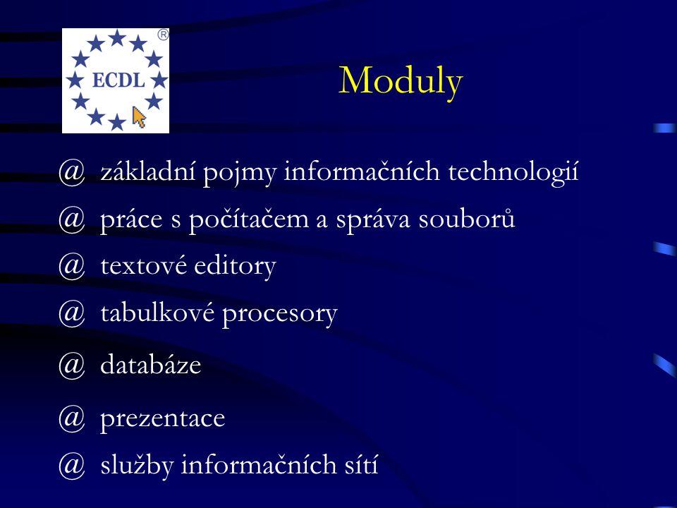 Moduly @základní pojmy informačních technologií @práce s počítačem a správa souborů @textové editory @tabulkové procesory @databáze @prezentace @služby informačních sítí