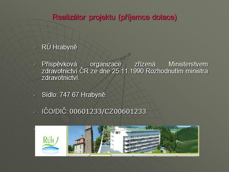 Realizátor projektu (příjemce dotace) RÚ Hrabyně RÚ Hrabyně Příspěvková organizace zřízená Ministerstvem zdravotnictví ČR ze dne 25.11.1990 Rozhodnutí