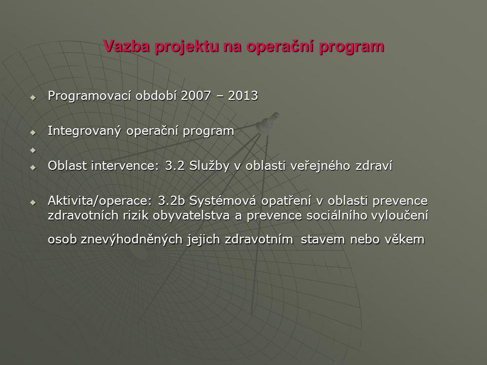 Vazba projektu na operační program  Programovací období 2007 – 2013  Integrovaný operační program   Oblast intervence: 3.2 Služby v oblasti veřejn