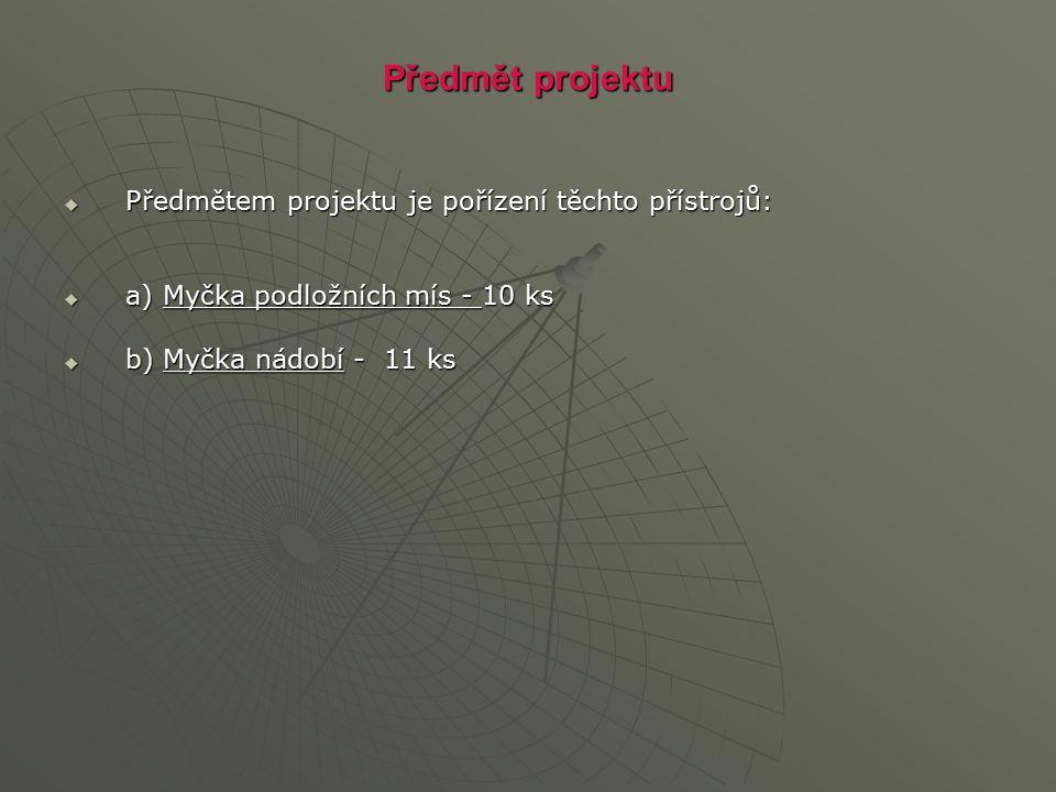 Předmět projektu  Předmětem projektu je pořízení těchto přístrojů:  a) Myčka podložních mís - 10 ks  b) Myčka nádobí - 11 ks