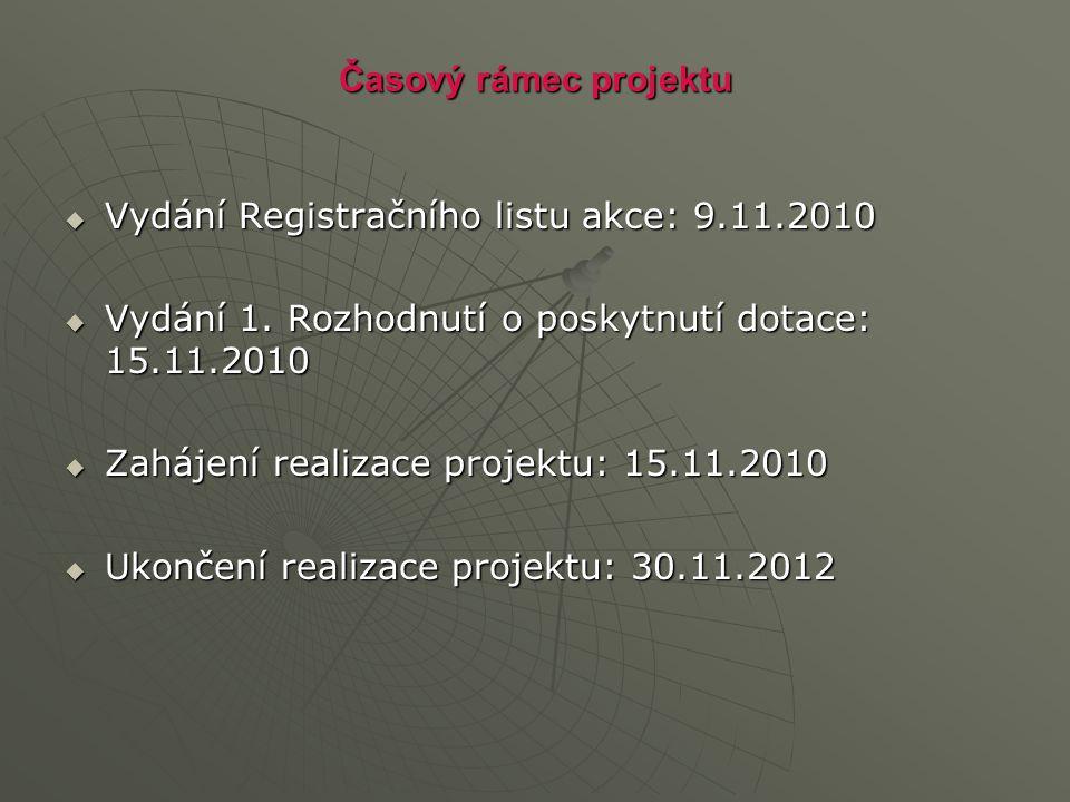 Časový rámec projektu  Vydání Registračního listu akce: 9.11.2010  Vydání 1. Rozhodnutí o poskytnutí dotace: 15.11.2010  Zahájení realizace projekt