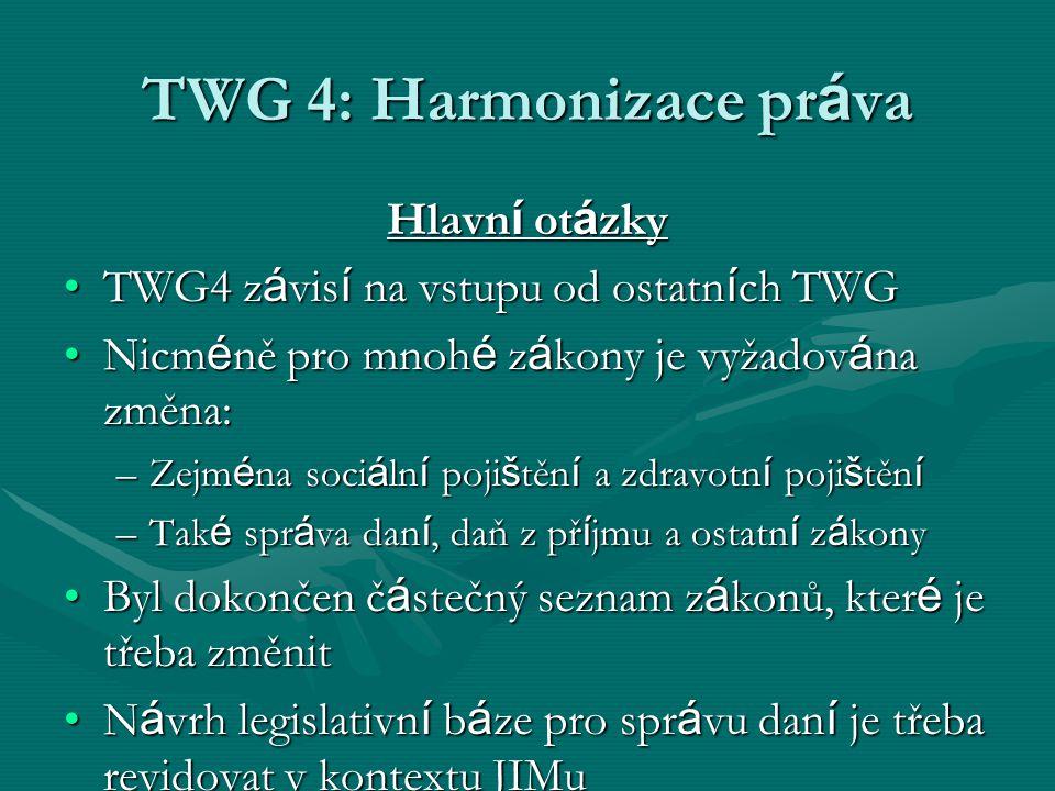 TWG 4: Harmonizace pr á va Hlavn í ot á zky TWG4 z á vis í na vstupu od ostatn í ch TWGTWG4 z á vis í na vstupu od ostatn í ch TWG Nicm é ně pro mnoh é z á kony je vyžadov á na změna:Nicm é ně pro mnoh é z á kony je vyžadov á na změna: –Zejm é na soci á ln í poji š těn í a zdravotn í poji š těn í –Tak é spr á va dan í, daň z př í jmu a ostatn í z á kony Byl dokončen č á stečný seznam z á konů, kter é je třeba změnitByl dokončen č á stečný seznam z á konů, kter é je třeba změnit N á vrh legislativn í b á ze pro spr á vu dan í je třeba revidovat v kontextu JIMuN á vrh legislativn í b á ze pro spr á vu dan í je třeba revidovat v kontextu JIMu