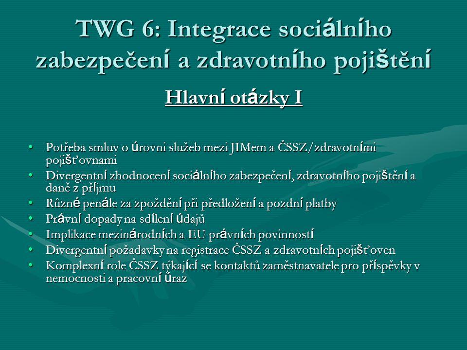 TWG 6: Integrace soci á ln í ho zabezpečen í a zdravotn í ho poji š těn í Hlavn í ot á zky I Potřeba smluv o ú rovni služeb mezi JIMem a ČSSZ/zdravotn