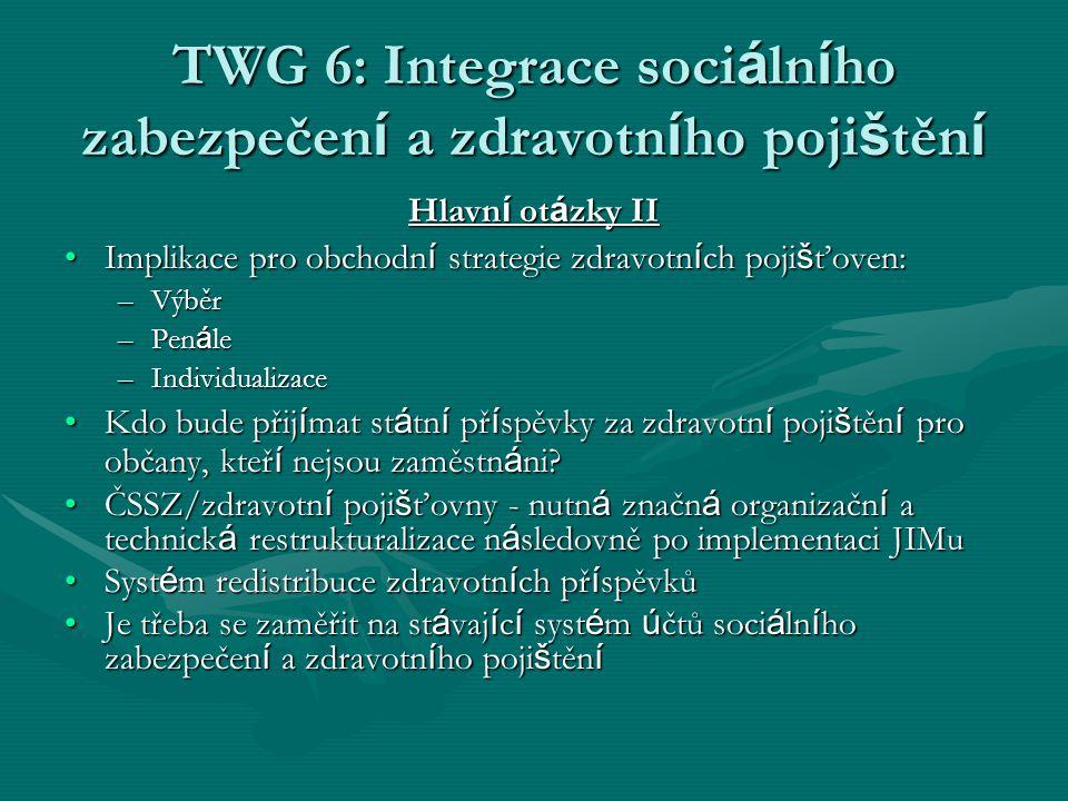 TWG 6: Integrace soci á ln í ho zabezpečen í a zdravotn í ho poji š těn í Hlavn í ot á zky II Implikace pro obchodn í strategie zdravotn í ch poji š ť