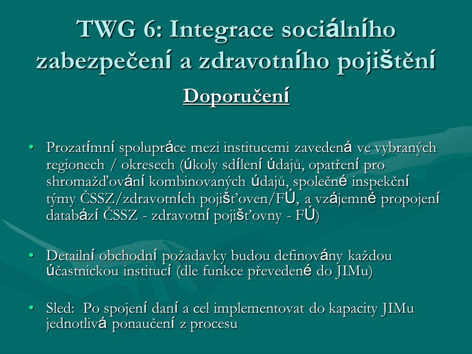 TWG 6: Integrace soci á ln í ho zabezpečen í a zdravotn í ho poji š těn í Doporučen í Prozat í mn í spolupr á ce mezi institucemi zaveden á ve vybraný