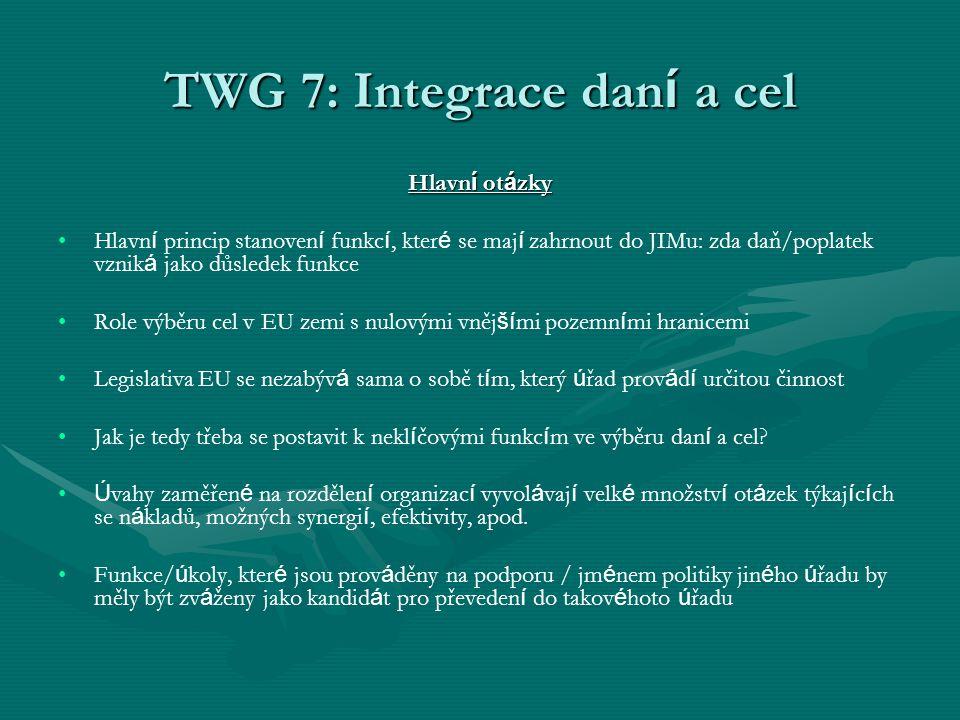 TWG 7: Integrace dan í a cel Hlavn í ot á zky Hlavn í princip stanoven í funkc í, kter é se maj í zahrnout do JIMu: zda daň/poplatek vznik á jako důsl