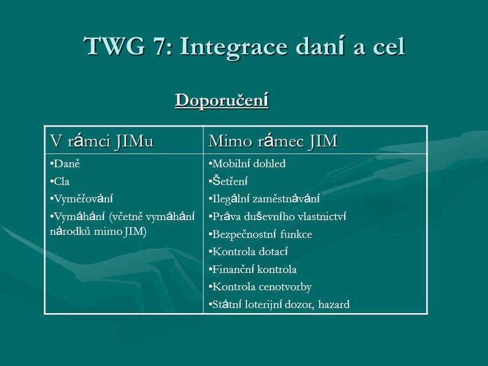 TWG 7: Integrace dan í a cel Doporučen í V r á mci JIMu Mimo r á mec JIM Daně Cla Vyměřov á n í Vym á h á n í (včetně vym á h á n í n á rodků mimo JIM