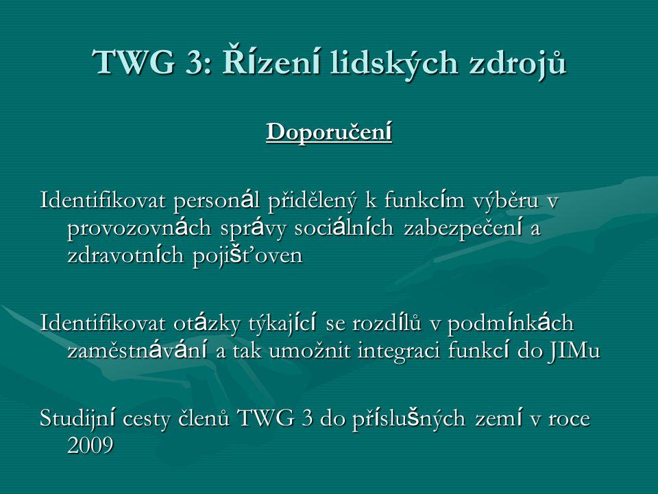TWG 3: Ř í zen í lidských zdrojů Doporučen í Identifikovat person á l přidělený k funkc í m výběru v provozovn á ch spr á vy soci á ln í ch zabezpečen